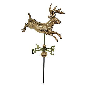 Jumping Buck Polished Copper and Brass Decorative Deer Weathervane