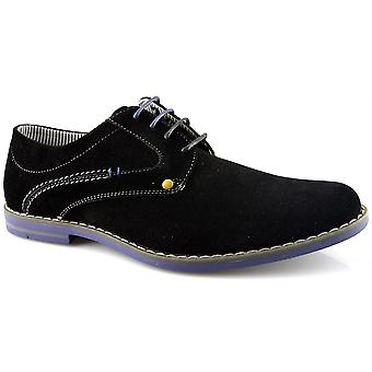 Mens New Lace Up Faux Suede Micro Fibre Lining Gibson Smart Formal Shoes