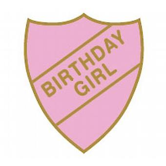 Birthday Girl Enamel Shield Badge - Old School Style