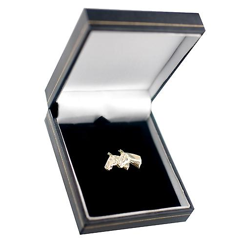 9ct Gold 15x25mm Double horses head Brooch