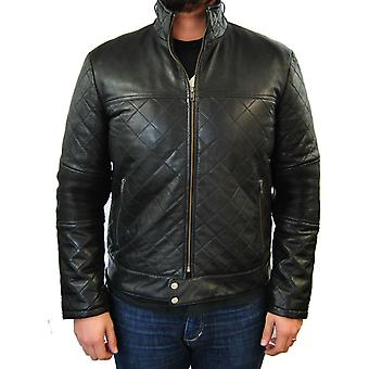 Mens Large Quilted Leather Jacket