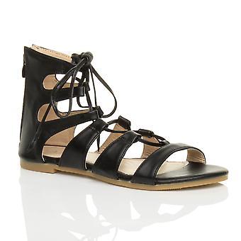 Ajvani dame flad snøre krydse over wrap omkring strappy sandaler sko