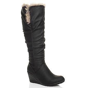 Ajvani womens mid wedge heel winter fur lined fold over cuff calf boots