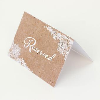 Reserved Wedding Card Set of 4 RESERVED signs Rustic Brown Kraft