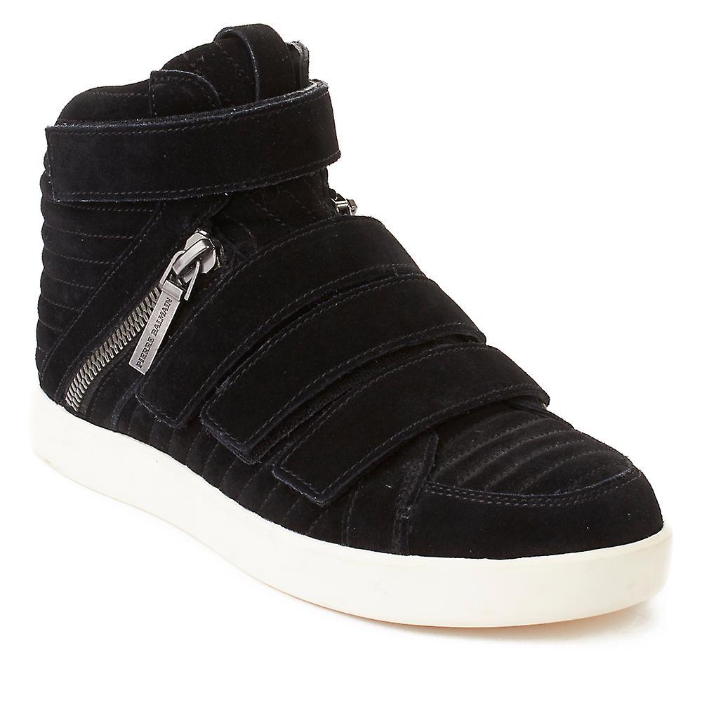 Pierre Balmain Men's Suede Quad Strap Hi Top Sneaker Shoes Black