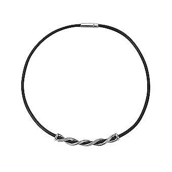 ESPRIT women's kedja halsband silver vridas svart läder ESNL92244D390