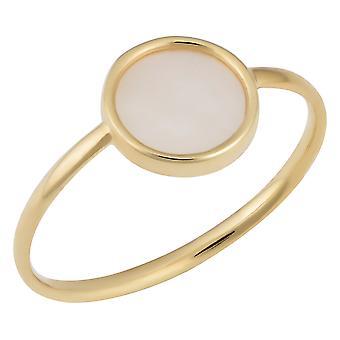14k żółty złoto rundy matka perła pierścienia