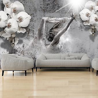 Behang - regeling met orchidee