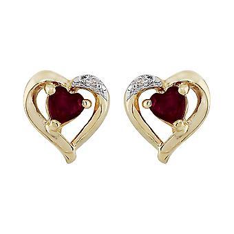 9ct Gelb Gold Granat & Diamant-Ohrringe