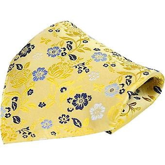 Posh and Dandy Floral Luxury Silk Pocket Square - Bright Gold