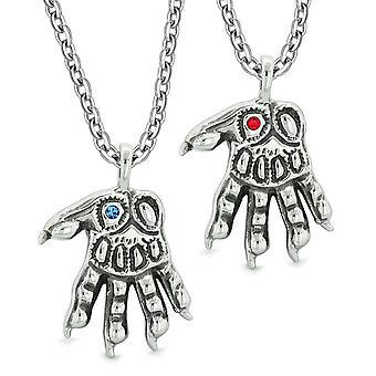 Varulv Paws overnaturlige amuletter kjærlighet par beste venner blå røde krystaller anheng halskjede