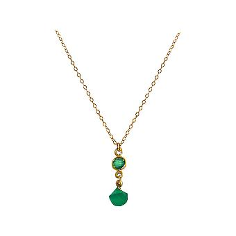 GEMSHINE necklace with Emerald and green Onyx gemstone. High-quality gold-plated on 45 cm chain drop pendant. Made in Munich, Germany. Delivered in a fine case. Also as a SET with earrings.