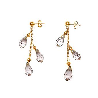 Gemshine - ladies - earrings - gold plated - Rose Quartz - faceted drop - pink - 3 cm