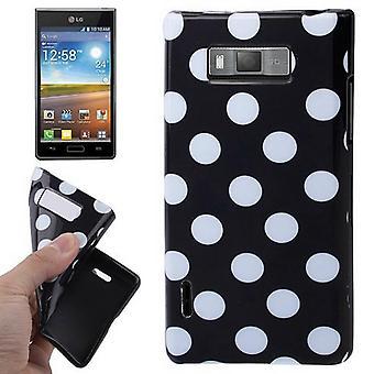 Schutzhülle TPU Punkte Case für Handy LG Optimus L7 / E705 schwarz