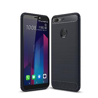 HTC Desire 12 Plus Hülle Silikon Blau Carbon Optik Case TPU Handyhülle Bumper 211791