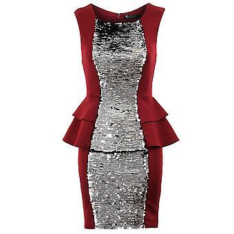 Ladies Silver Black Gold Sequin Double Peplum Plain Back Bodycon Womens Dress