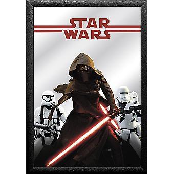 Star Wars Episode 7 Wand- spiegel Kylo Ren farbig bedruckt,  Kunststoffrahmung schwarz, Holzoptik.