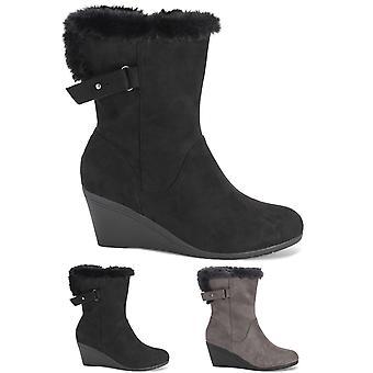 Womens lav kile hæl justerbar vidskaftede Faux Fur foret Mid-kalv støvler UK 3-10