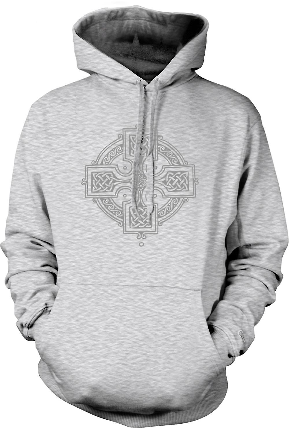 Mens Hoodie - Celtic Cross 2 - Tattoo Design