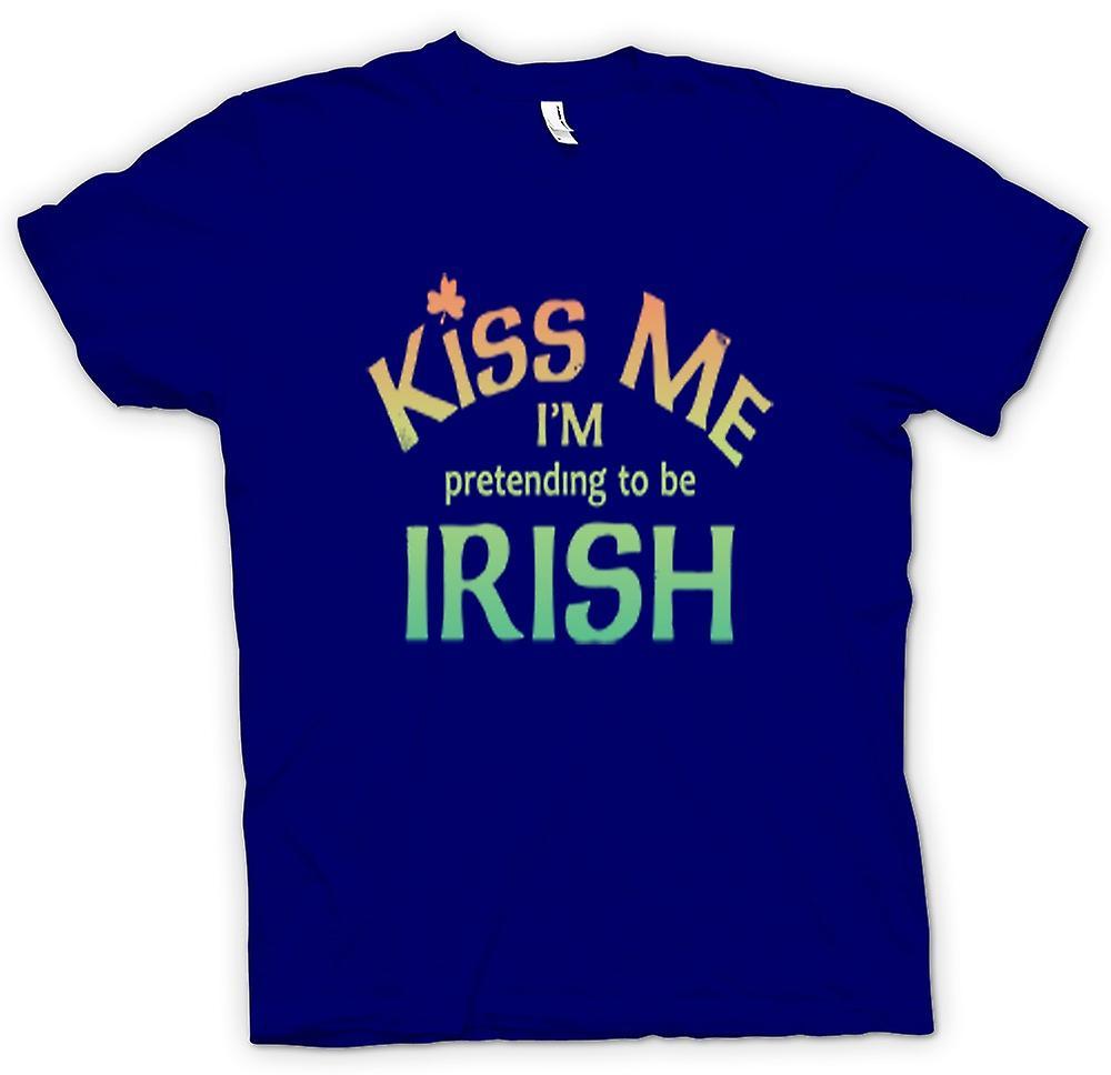 Mens T-shirt - Kiss me ik ben doen alsof ze worden Ierse