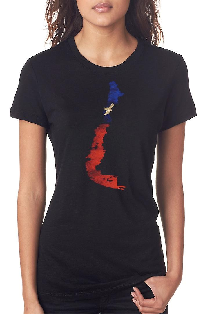 Chile Chilean Flag Map Ladies T Shirt
