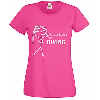 Ladies I'd Rather Be Diving Hot Pink Tshirt