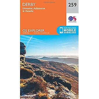 OS Explorer Map (259) Derby, Uttoxeter, Ashbourne i Cheadle