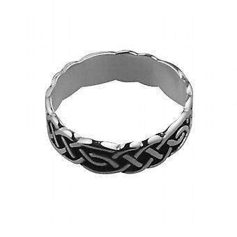 Plata oxidada 6mm tamaño del anillo de boda celta Z