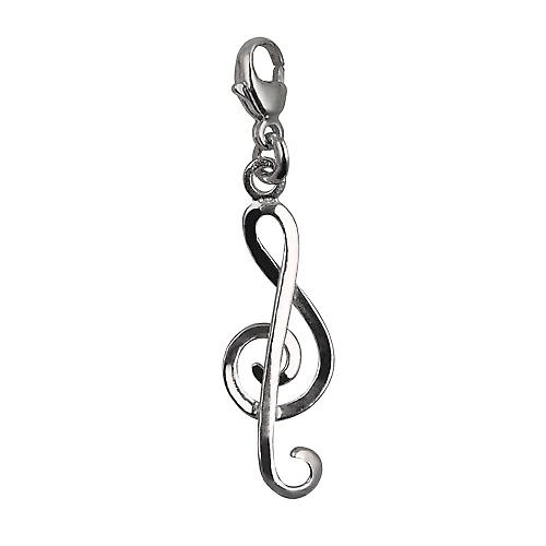 Silver 25x10mm round wire G Clef Charm on a lobster trigger