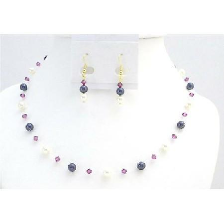 Gold Plated Earrings Dark Purple Ivory Pearls Fuchsia Crystals Set