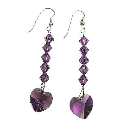 Amethyst Crystal Heart Swarovski Crystal Sterling Silver 92.5 Earrings