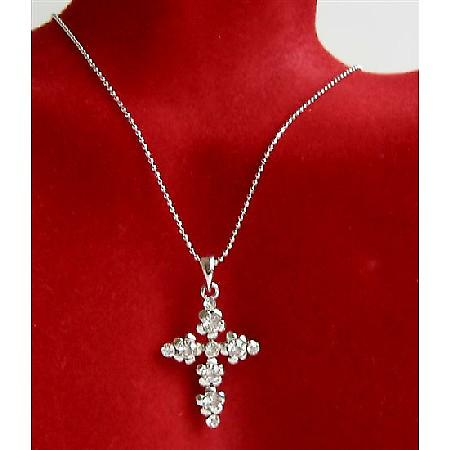Clear Cross Pendant Clear Cubic Zircon Striking Pendant Necklace