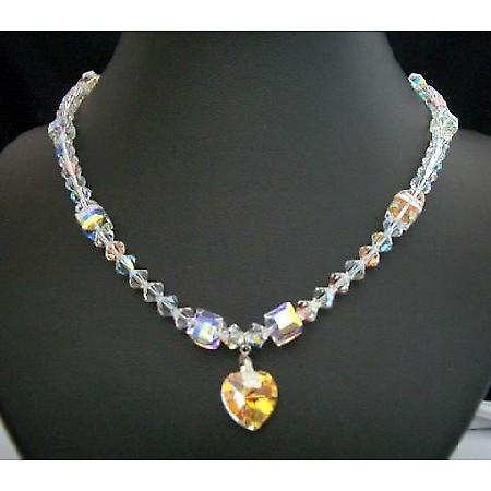 Swarovski AB Crystal Heart Pendant Necklace Handcrafted Custom Jewelry