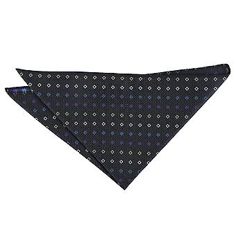 Black with Blue and Yellow Mini Diamond Geometric Pocket Square