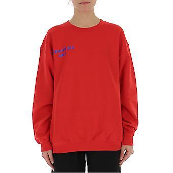 Semi-couture Gaia Red Cotton Sweatshirt