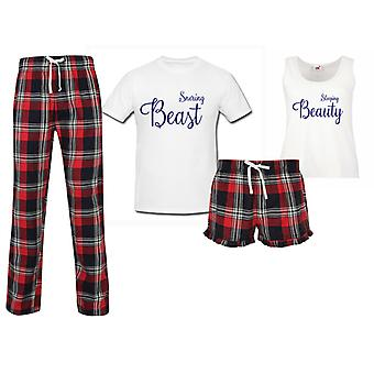 Sleeping Beauty Snoring Beast Couples Matching Pyjama Tartan Set