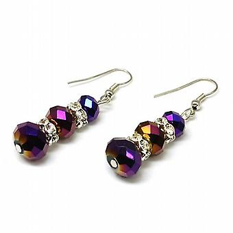 The Olivia Collection Purple Faceted Graduating Glass Drop Earrings