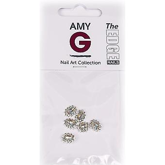 The Edge Nails Amy G - 3D Nail Art Nail Jewels - Oval Diamond (6 PCS) (3003048)