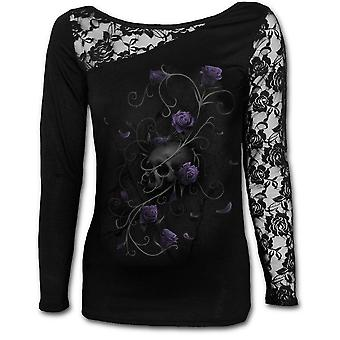 Spiral - entwined skull - womens  - lace one shoulder top, black