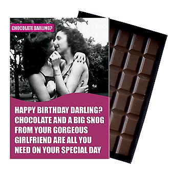 Funny Lesbian Birthday Gift For Civil Partner LGBT Women Chocolate Greeting Card Present CDL128