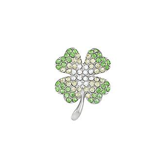 Eternal Collection Clover Green Crystal Silver Tone Flower Brooch