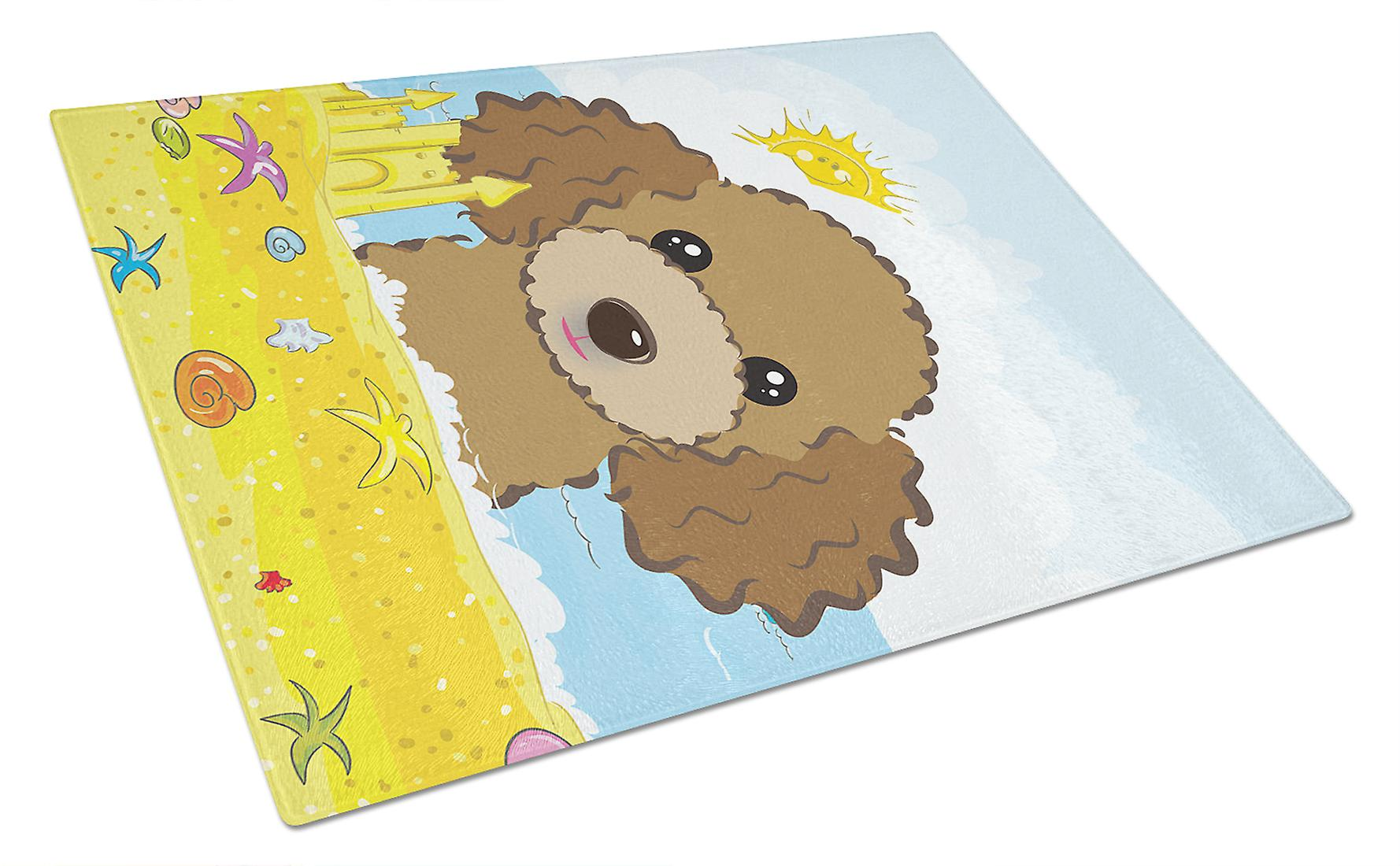 Chocolate Brown Poodle Summer Beach Glass Cutting Board Large BB2124LCB