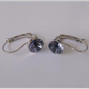 Purple crystal drop earrings EMB7.3