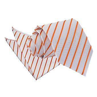 Men's Single Stripe White & Orange Tie 2 pc. Set