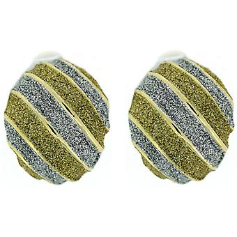 Clip On Earrings Store Silver & Gold Glitter ovaal Stripe goud vergulde Clip op oor