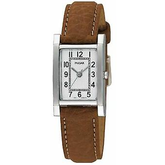 Pulsar Womens' Stainless Steel Tan Leather Strap PC3163X1 Watch