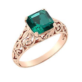 14K Rose Gold CT 2,00 Esmeralda anillo Vintage Art Deco filigrana