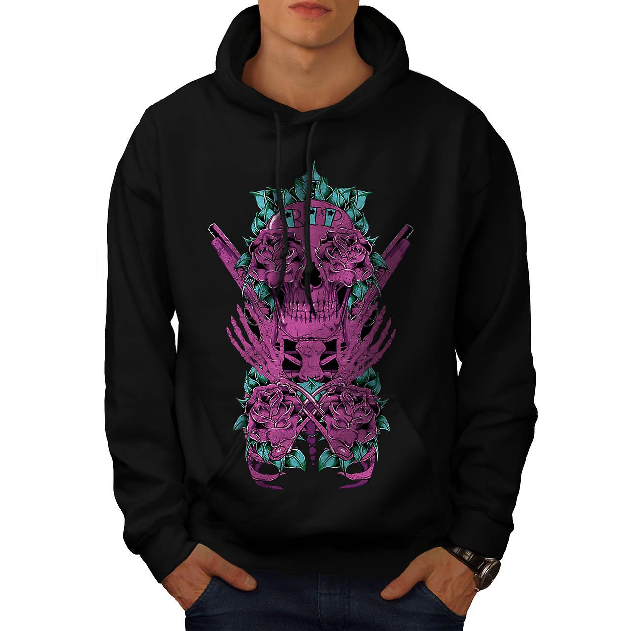 RIP Graveyard Skull Burial Land Men Black Hoodie | Wellcoda