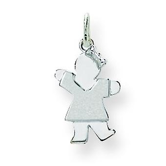 14k White Gold Mini Children Girl Charm - .8 Grams