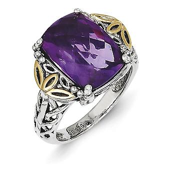 Sterling Silver With 14k Amethyst Ring - Ring Size: 6 to 8